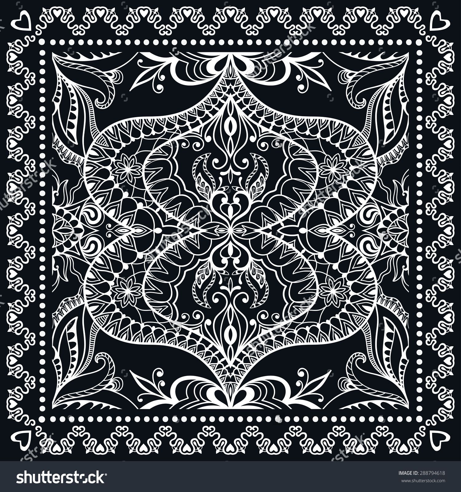 stock-vector-black-bandana-print-silk-neck-scarf-or ...