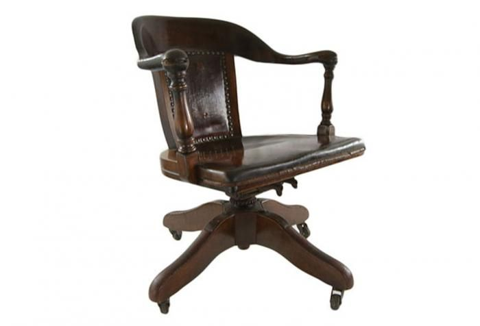 Delicieux Antique Bankers Chair With Original Leather Seat Cushion 1885 1894