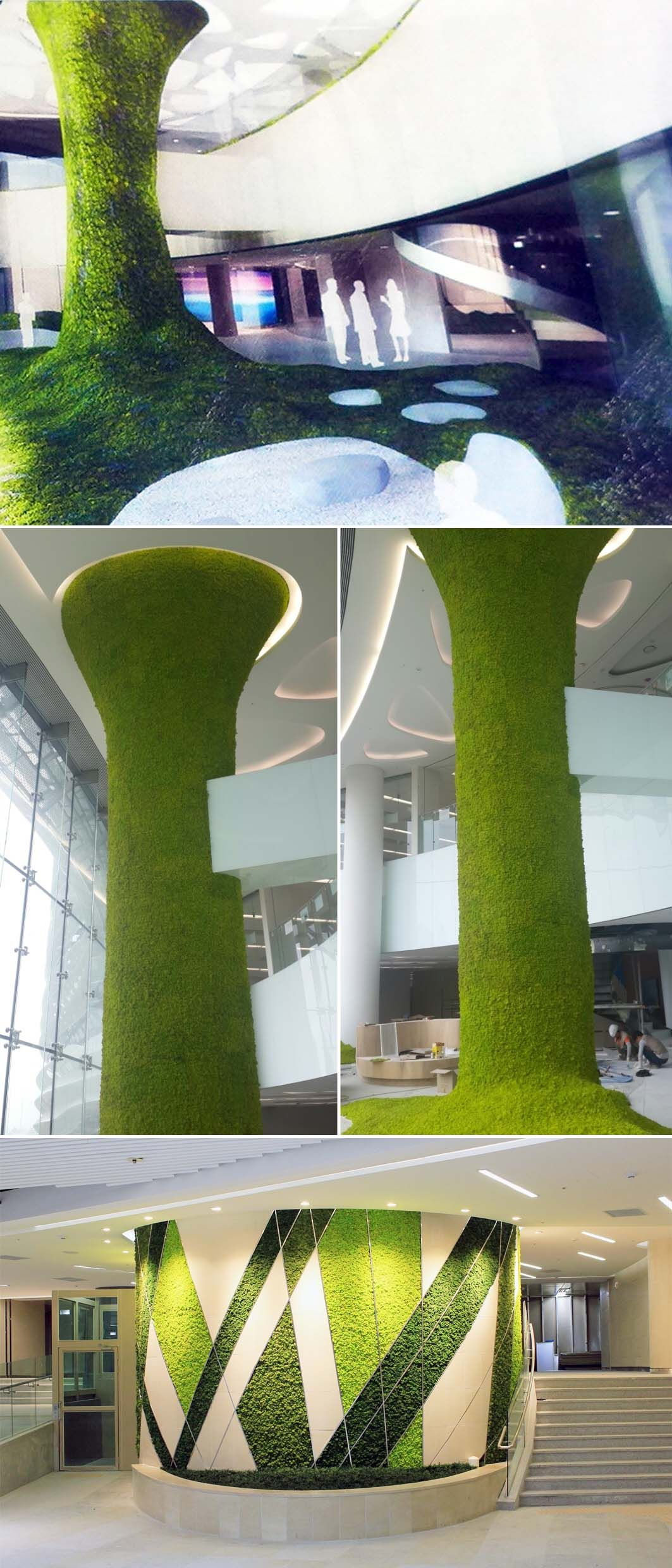 Decoration on the pillar in interior of  building bring nature to  also rh co pinterest