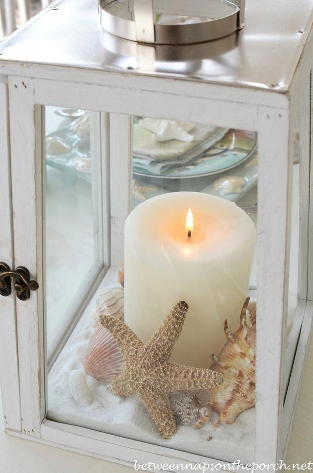 coastal beach house decor - rustic white lantern with white candle, shells and sand #Beachhousedecor -   23 rustic white decor ideas