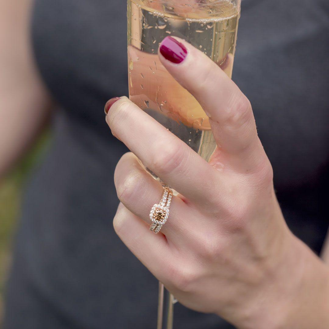 MOCHA DIAMOND WEDDING SET IN 14 KT. PINK GOLD - SKU : 241975 ...