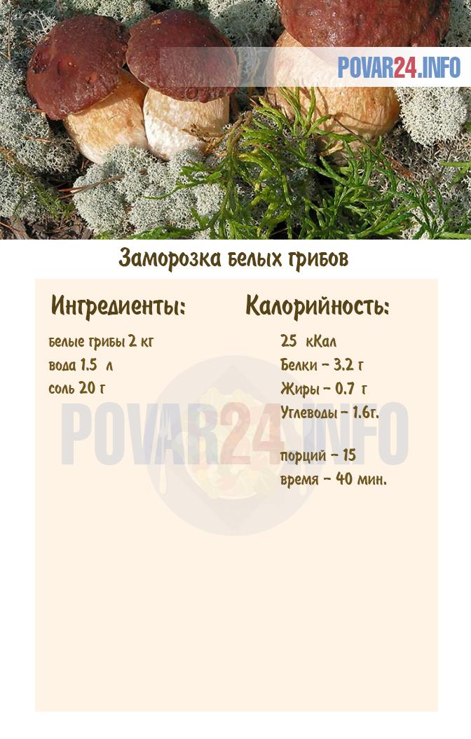 сколько варить белые грибы для заморозки