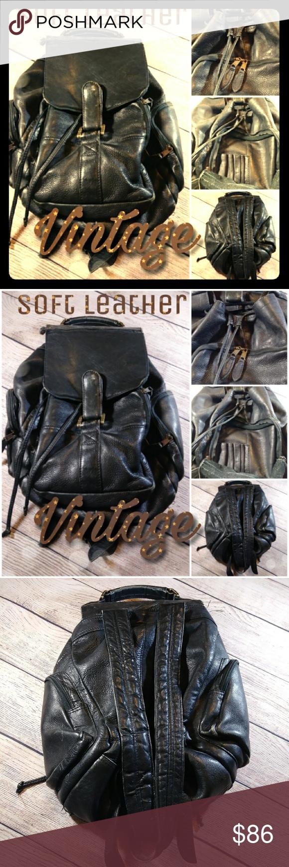 Vintage Wilson black leather backpack Black leather
