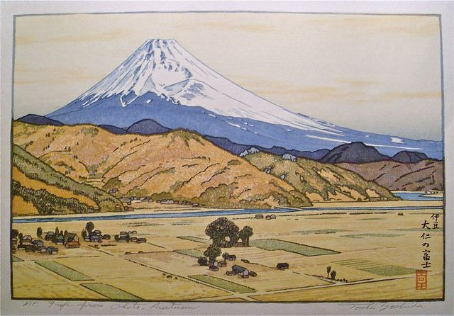 Color Woodblock / Toshi Yoshida    Toshi Yoshida (1911-1995) was the eldest son of Hiroshi Yoshida (1876-1950), and learned to paint and make woodblock prints literally at his fathers knee. This view of Mt. Fuji from Ohito dates to around 1980, and is an excellent example of his landscape prints.