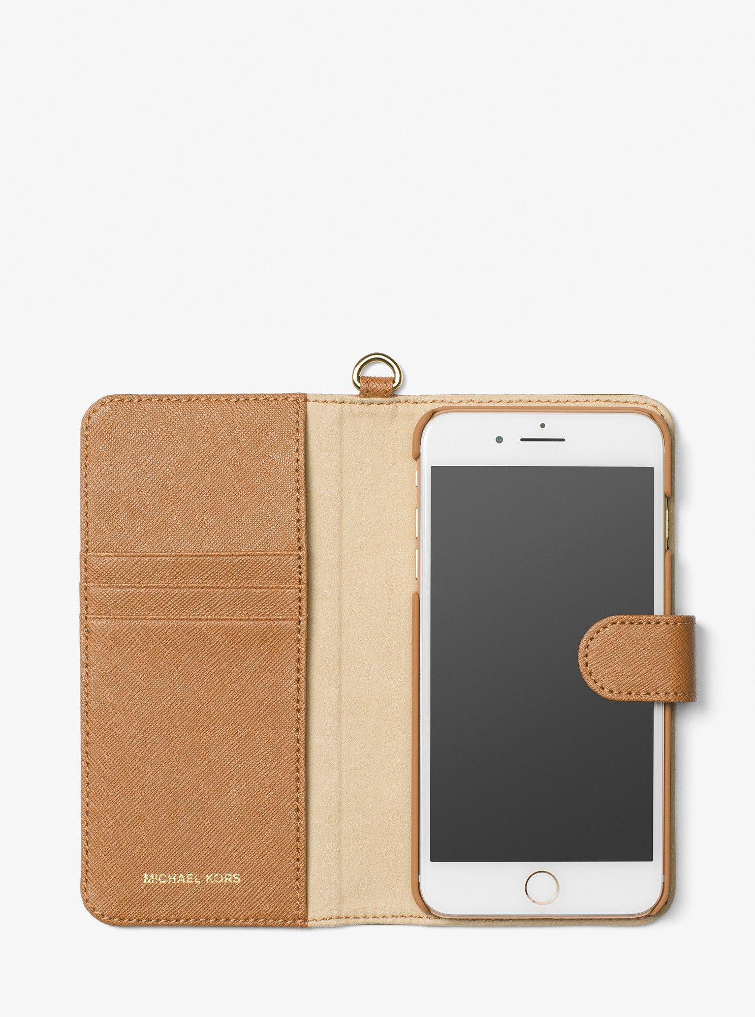 338dc27751b5 Michael Kors Saffiano Leather Folio Phone Case For Iphone7/8 Plus - Black
