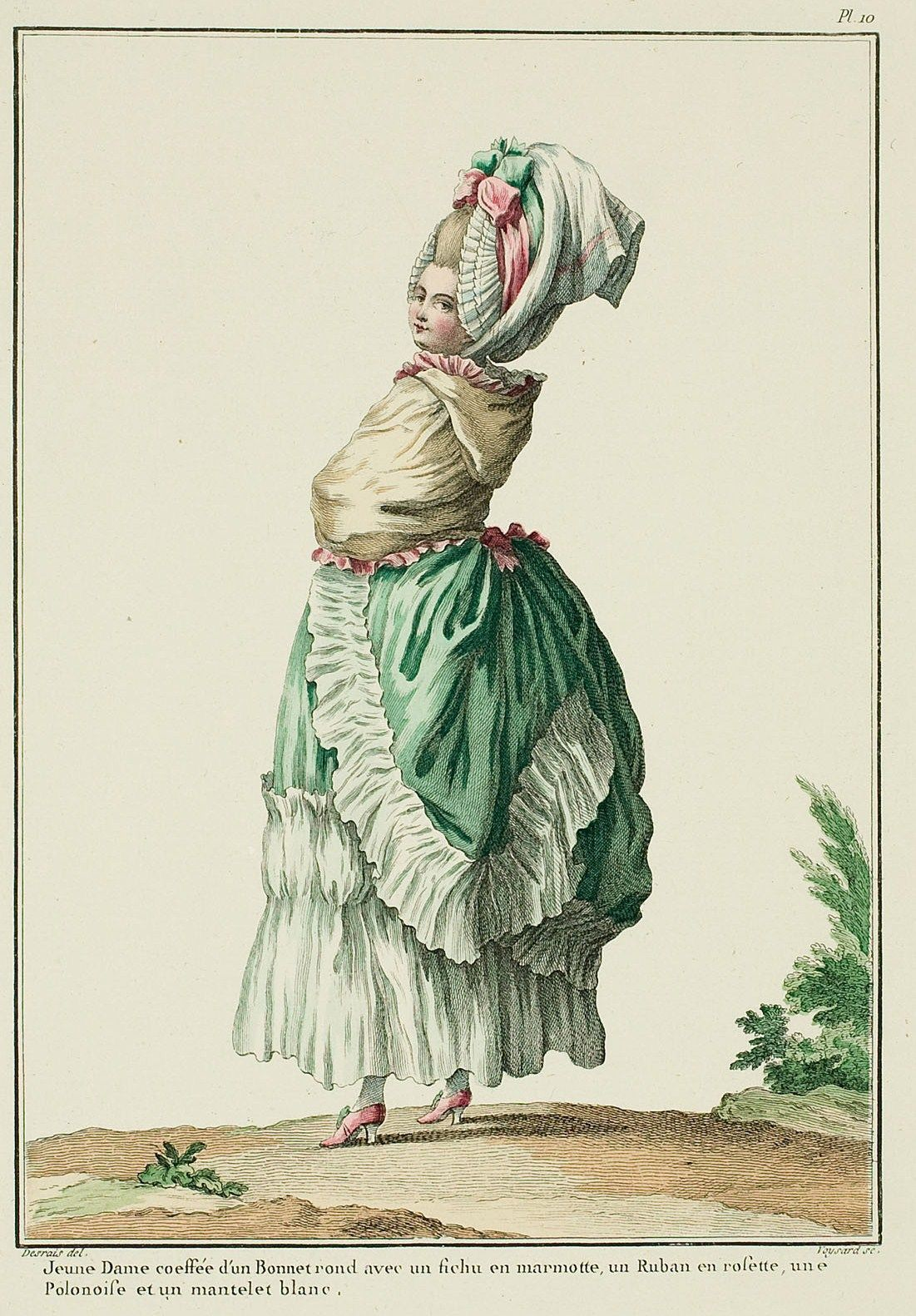 """Plump and young lady taking the fresh air in the morning: she is dressed in a """"flourishing tail"""" or """"rounded rump"""" Polonaise* with very expansive wings, the whole trimmed with wide bands of gathered linen. These polonaises, much more ample than the others, perfectly suit people whom nature has given a nice roundness or whose pregnancy will soon show."""
