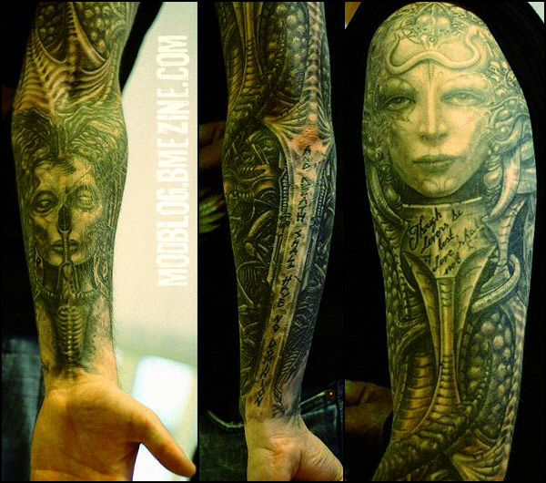 Gieger Tattoos Designs: Techno Organic Sleeve Detail Geiger