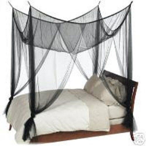 Octorose  4 Poster Bed Canopy Netting Functional Mosquito Net Full Queen King Black Check This Awesome Product By Going To The Link At Image