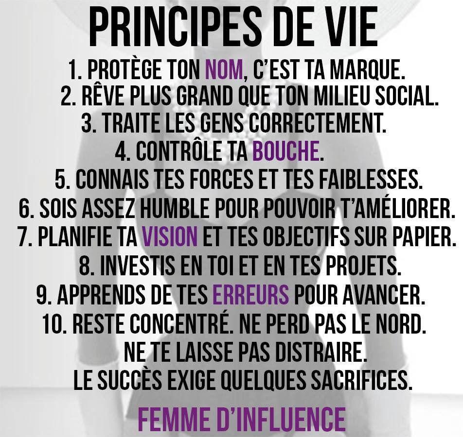 #PrincipesDeVie #FemmeDInfluence