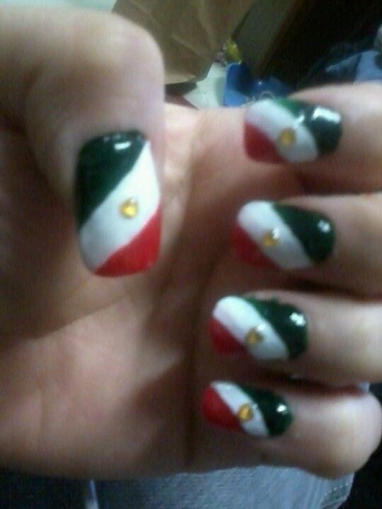 Mexico Flag Nails Easiest Way I Could Do Them Nails Pinterest