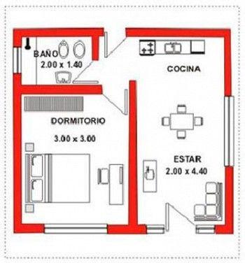 Plano vivienda mini casa pinterest plano vivienda for Plano de pieza cocina y bano