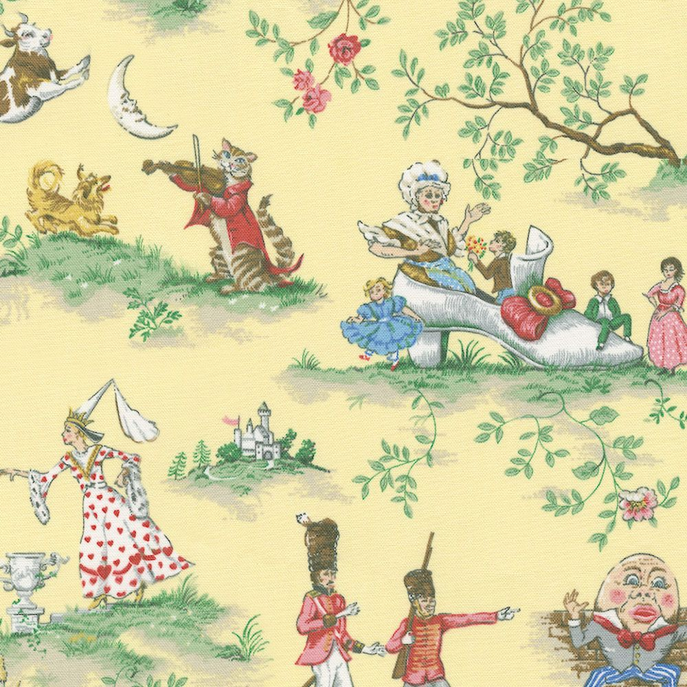 Yellow Nursery Rhyme Toile Fabric by the Yard | Toile, Nursery and Yards