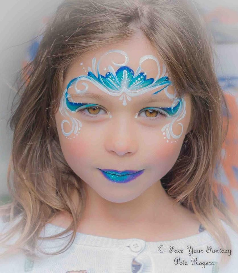 Elsa Frozen Inspired Princess Crown Tutorial Elsa Face Painting Face Painting Easy Girl Face Painting