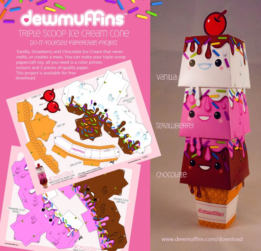 Triple scoop ice cream cone papercraft toy free download for Ice cream cone paper craft