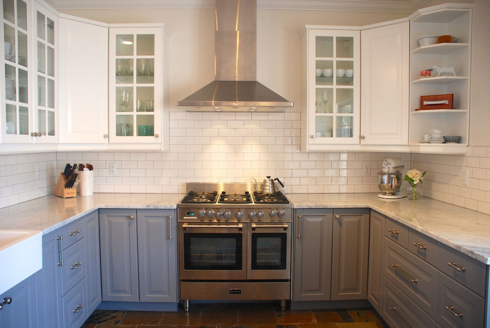 Ikea Lidingo Gray lower cabinets with Lidingo white upper cabinets ...