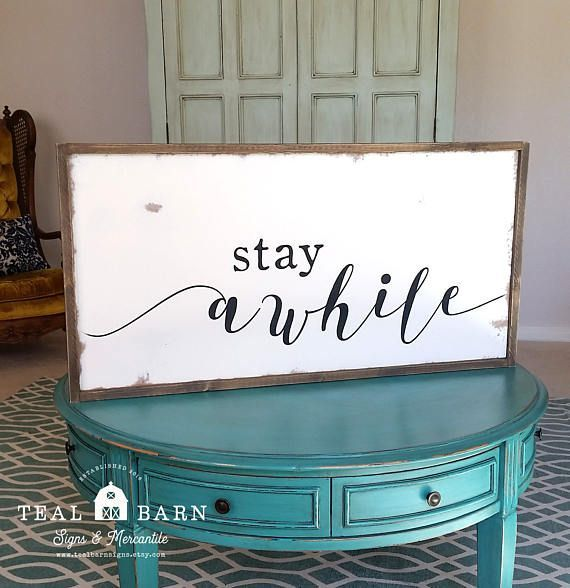 STAY AWHILE Hand Painted Rustic Wood Sign with Farmhouse   Wood ...