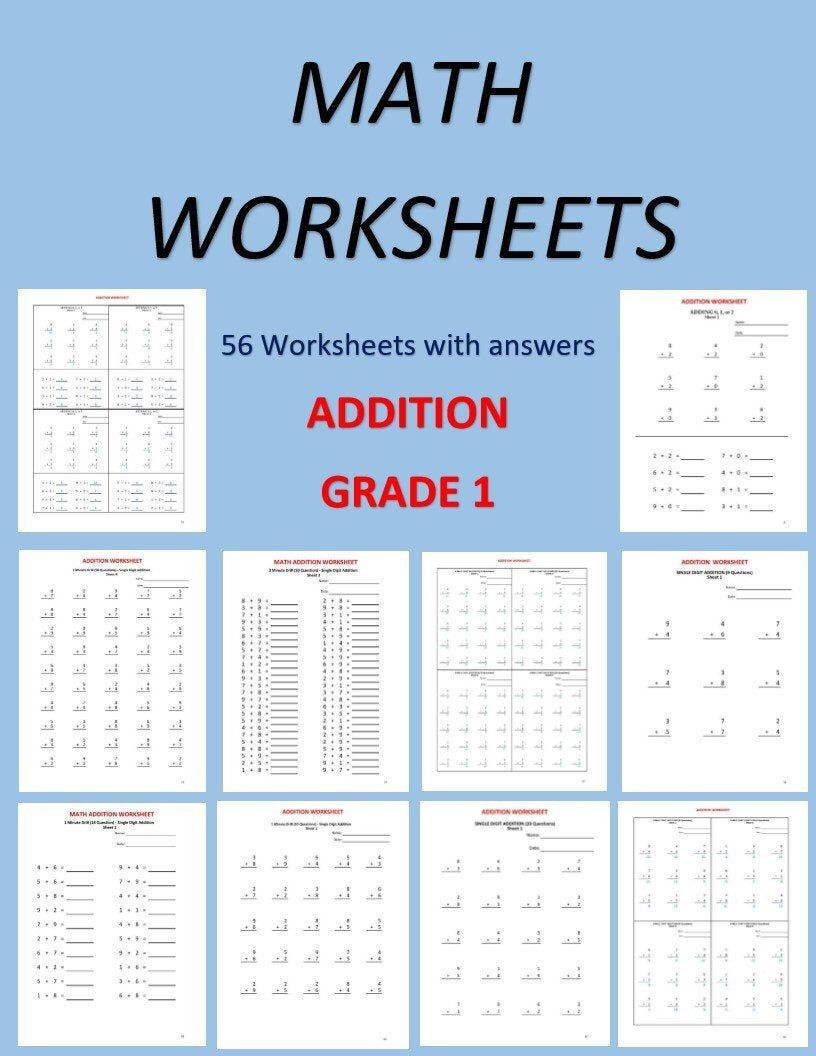 Excited To Share This Item From My Etsy Shop Math Worksheets For Grade 1 56 Worksheets Pdf Year 1 2 Gr Math Workbook Math Worksheets 1st Grade Worksheets