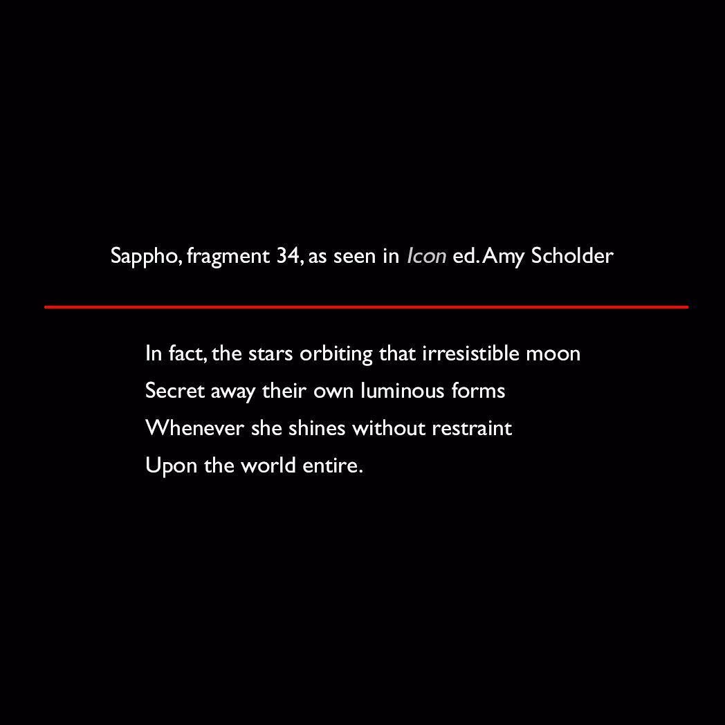 Sappho Fragment 34 As Seen In Icon Ed Amy Scholder Quote