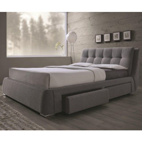 coaster fenbrook california king upholstered bed with storage drawers coaster fine furniture