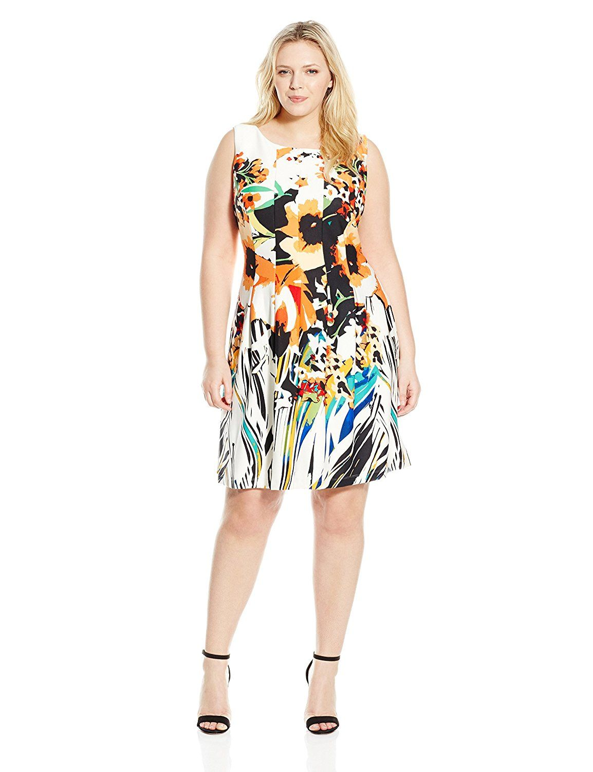 7b4250a8f2c60 Gabby Skye Women s Plus-Size Abstract Floral Printed Fit-and-Flare Dress    See this awesome image   Women s dresses