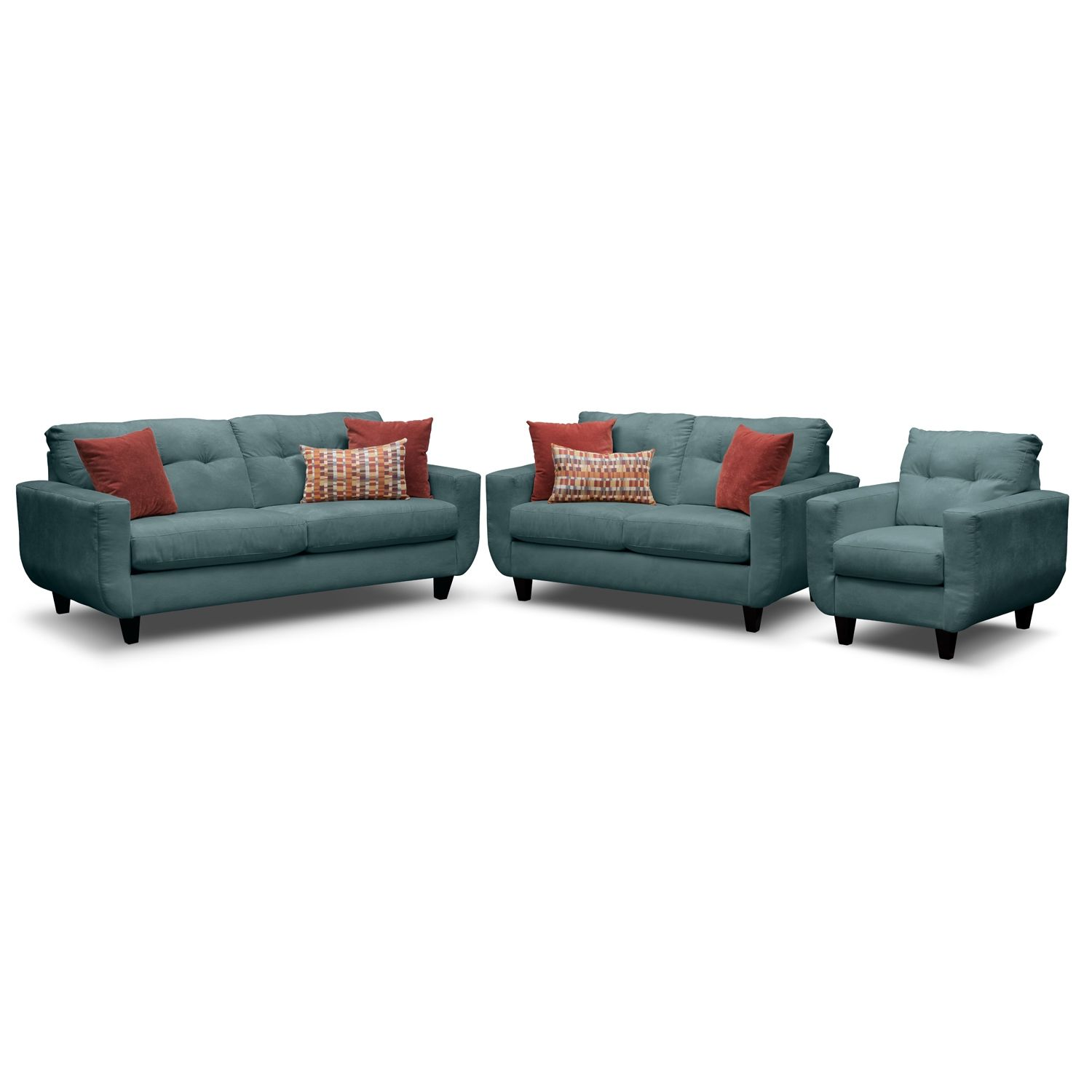 Living Room Furniture - West Village Sofa, Loveseat and Chair Set ...