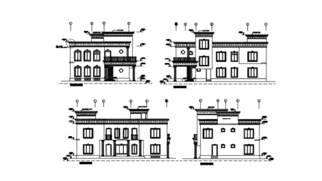 Autocad Bungalow Elevation Drawing DWG File