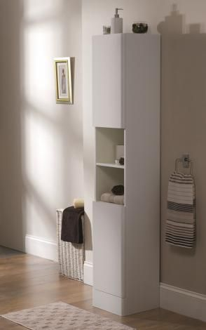Freestanding High Gloss White Wood Bathroom Tallboy By Showerdrape Davos With Images Bathroom Tallboy High Gloss White Wood Wood Bathroom