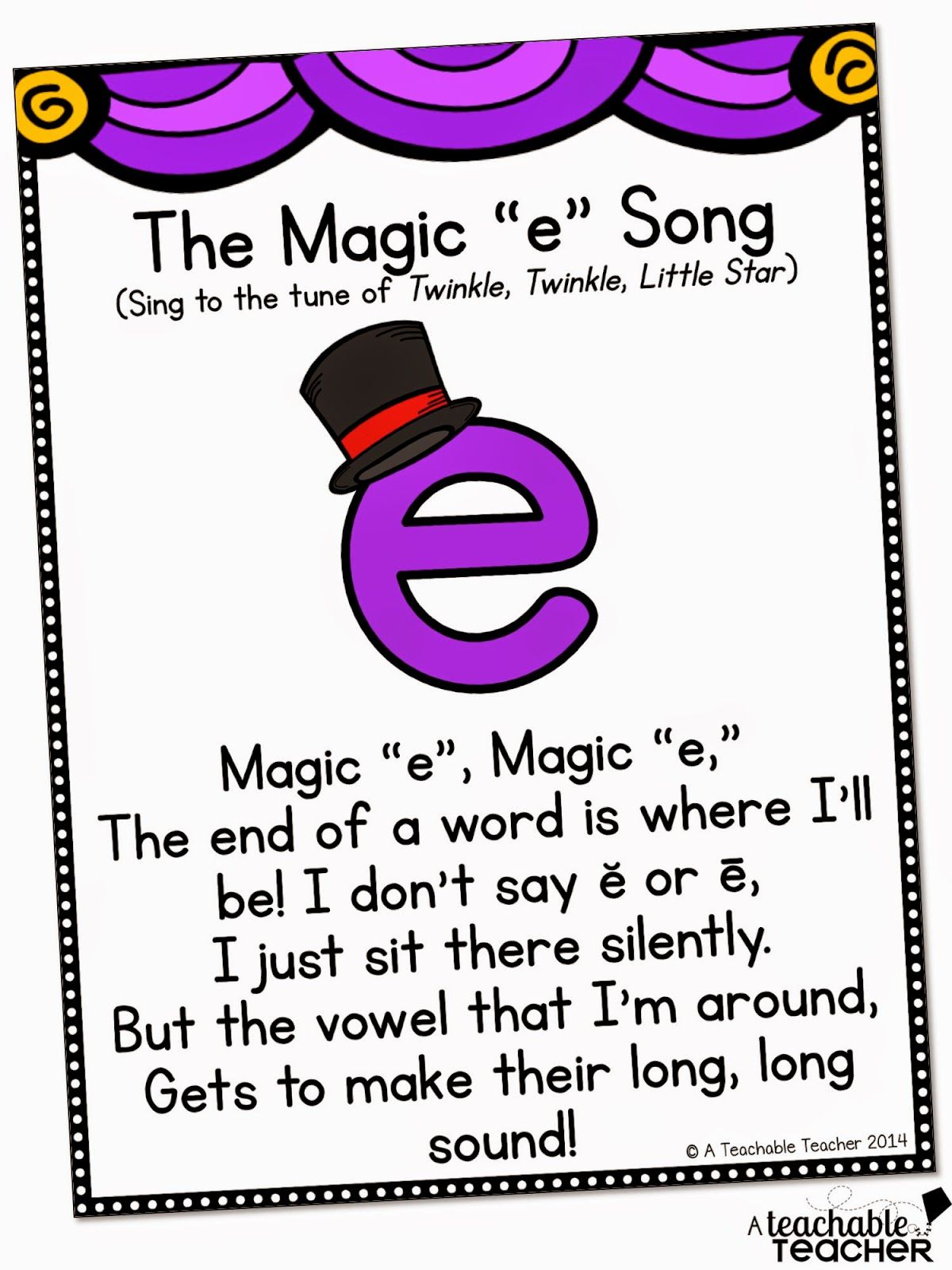 A Cute Song For Teaching Cvce With Magic E With Images