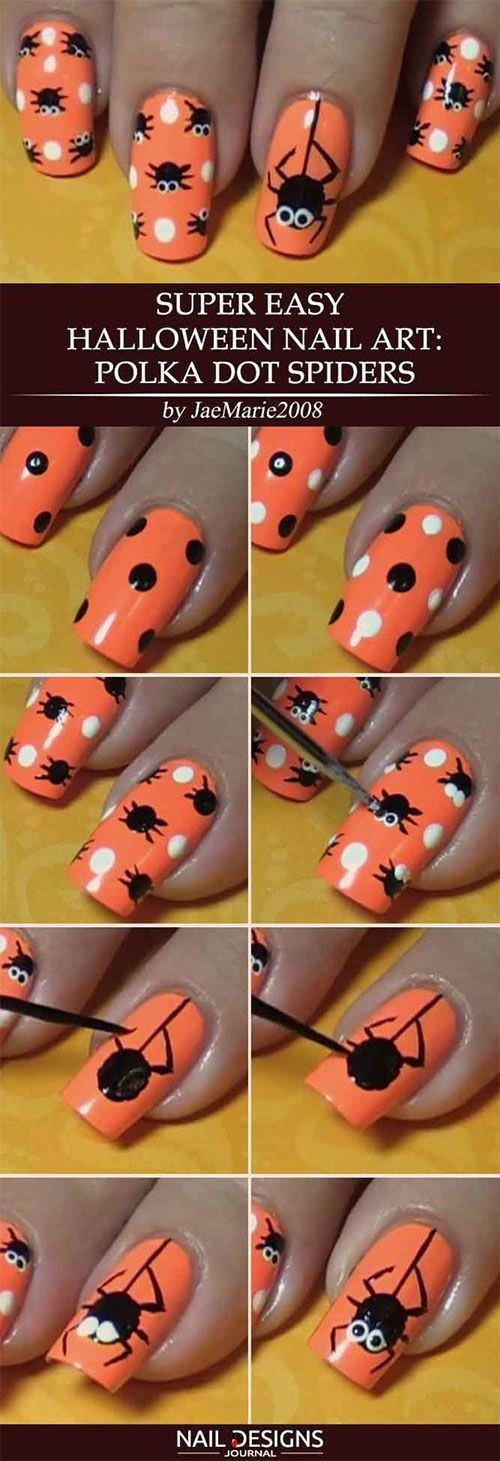 Easy Step By Step Halloween Nails Art Tutorials For Beginners 2019 Easy Halloween Nails Design Halloween Nail Art Easy Halloween Nails Easy