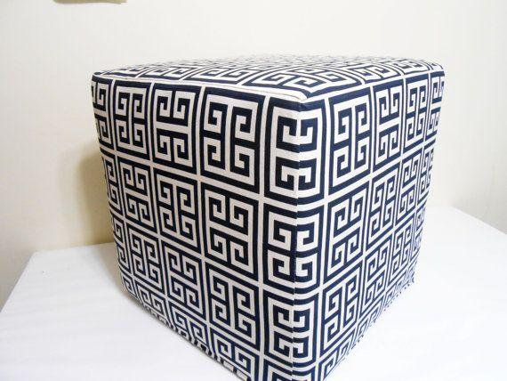 Astonishing Greek Key Pattern Pouf Navy Blue And White Ottoman Pouf Ibusinesslaw Wood Chair Design Ideas Ibusinesslaworg