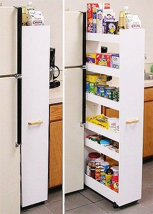 Add Castors To Narrow Bookcase And You Have A Pull Out Pantry