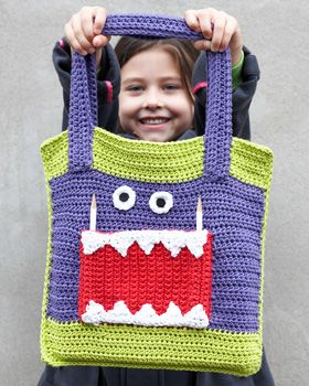 Lily Sugar n Cream - The Monster Ate My Homework Tote Bag (free crochet pattern)