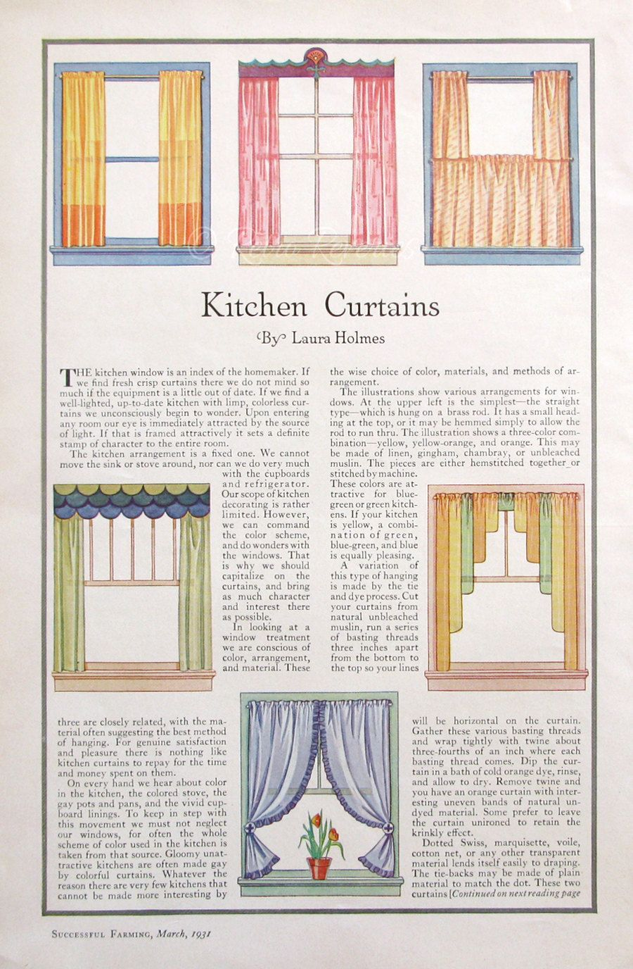 1931 Kitchen Curtains Illustration - 1930s Sewing Room Ideas - Craft ...