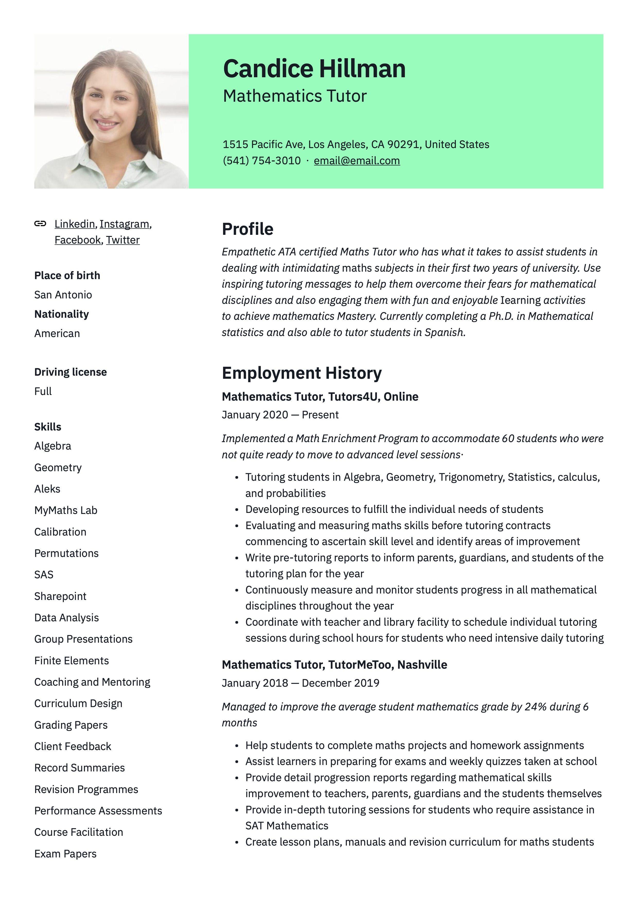 Mathematics Tutor Resume Sample Mathematics Free Resume Template Word Resume Writing