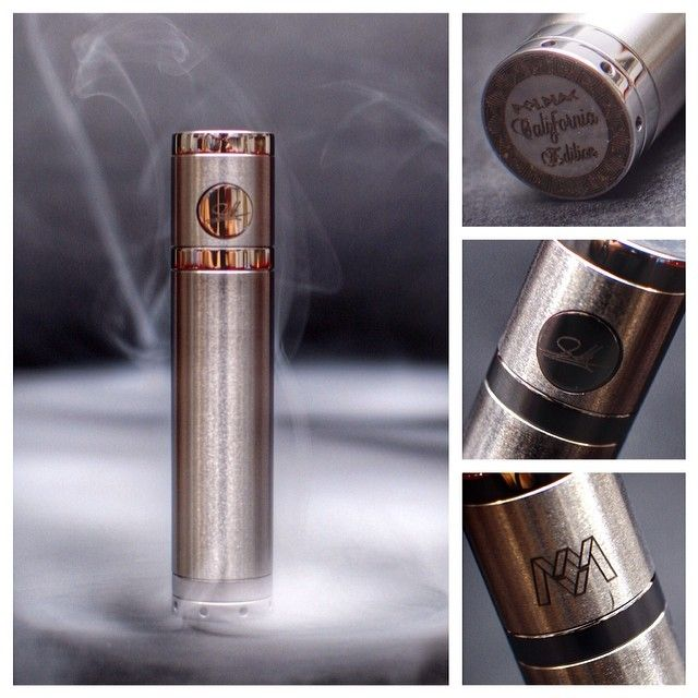 """Poldiac """"Cali Edition"""" by MMVapors Build Quality: 4 Switch: 3.5 Innovation: 4.5 Threading: 3.5 Finish: 4 Performance: 4.5 Price: med/high Aesthetics: 5 Pros: solid performing side button firing mod Cons: button and contact adjustments can be finicky #Padgram"""