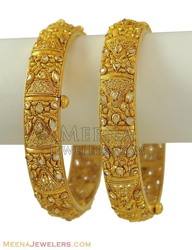 22Kt Antique Kadas (2 pcs) ( Antique Bangles ) | jewellery ...