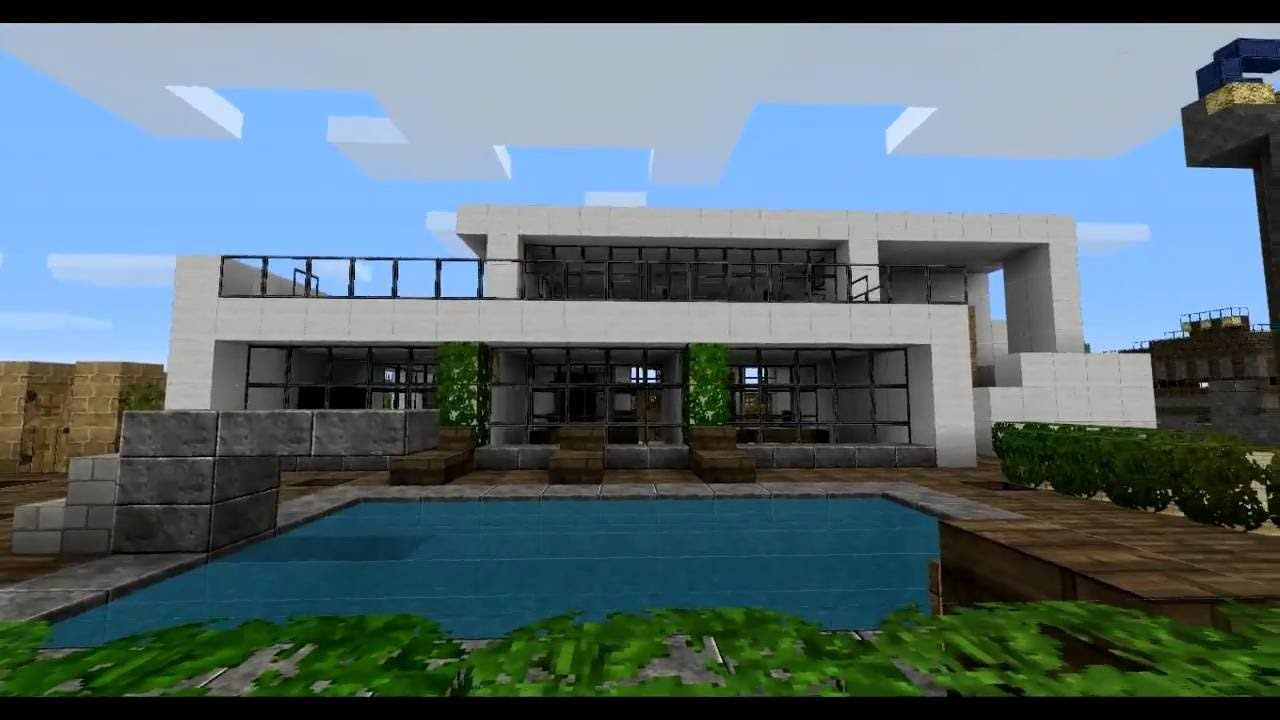 How To Build A Simple Easy Modern House Minecraft I 1 7 5 I Minecraft Modern Modern Minecraft Houses Minecraft House Tutorials