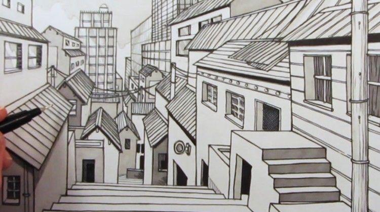 Berikut Adalah  Sketsa Gambar Perspektif Kota Yang Bisa Dijadikan Bahan Referensi Untuk Tugas Atau Untuk Melatih Keterampilan Menggambar Sketsa Cekidot