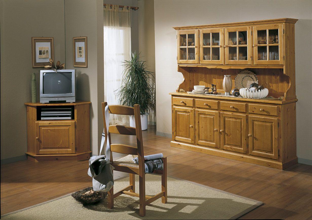 Credenza 4 ante con sopralzo a vetri e porta tv angolo costruiti in legno di pino produzione - Mobili in legno di pino ...