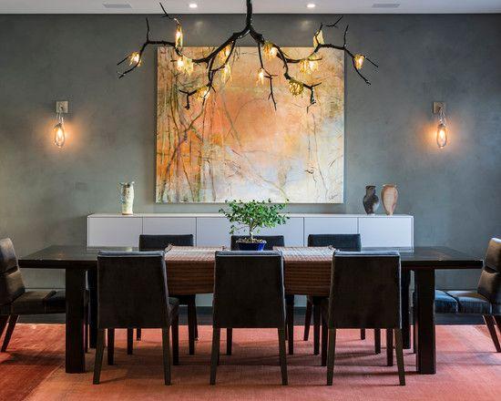 Contemporary Dining Room Lighting Fixtures Delectable Decorating Adorable Contemporary Dining Room With Elegant Dark Inspiration Design