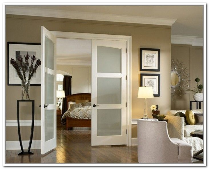 Interior Slab Door With Frosted Glass For The Rooms Where Light And
