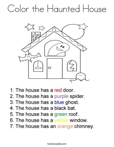 Color The Haunted House Coloring Page Twisty Noodle House
