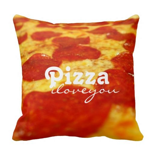 Funny Pepperoni Cheese Pizza Addict Fast Food Throw Pillows - foodie, italian, salami, yellow, red, polka dots, circle. Funny birthday, Christmas gifts. Pizza, I LOVE YOU.