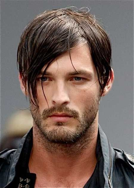 Straight Medium Hairstyle With Long Bangs