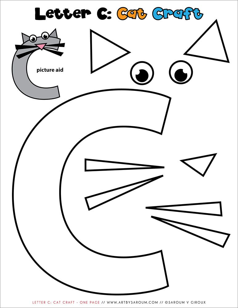 Letter C: One Page Cat Paper Craft Freebie