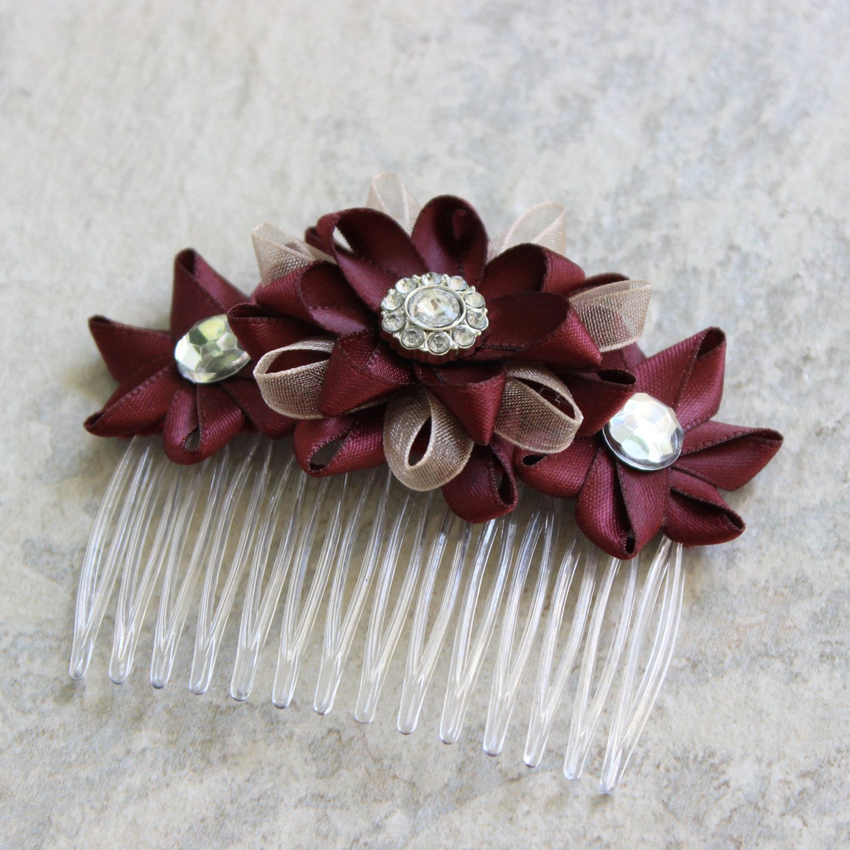 c5b106516031 Burgundy Hair Accessory Burgundy Hair Flower Burgundy Flower Hair Comb  Champagne and Burgundy Wedding Flowers Bridal Hair Accessories