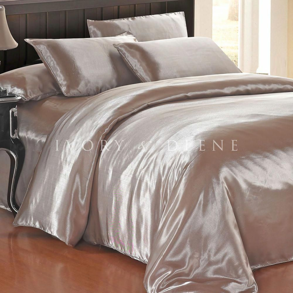 Details About Satin Quilt Cover Champagne Latte King Size Luxury