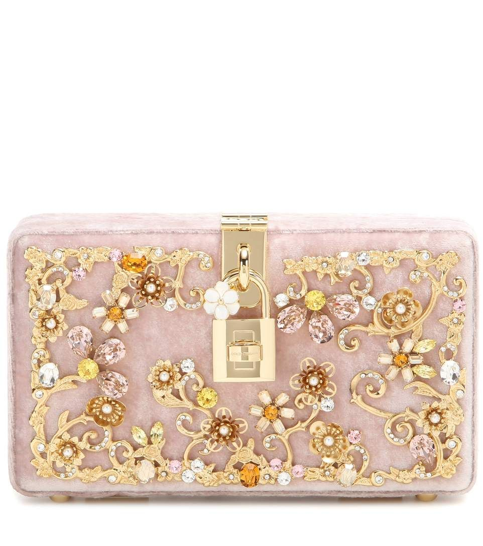 c0a0e791d65 DOLCE & GABBANA Dolce Embellished Velvet Box Clutch. #dolcegabbana #bags  #lining #clutch #velvet #crystal #hand bags