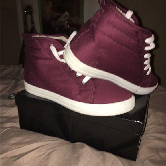 Burgundy sneakers Burgundy cloth high top sneakers wit fur inside Shoes Sneakers