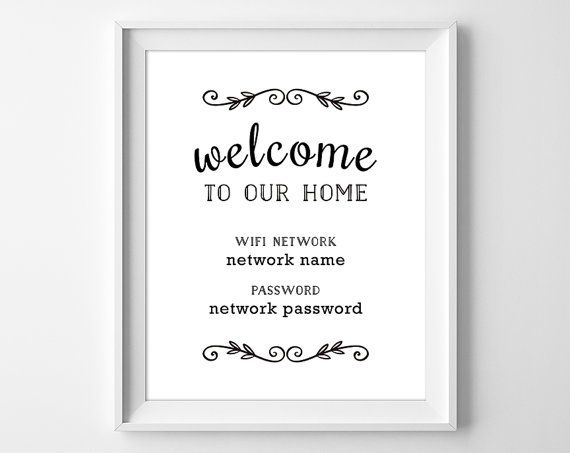 graphic about Printable Wifi Sign identified as Printable WiFi Pword Welcome toward Our Household through